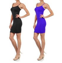 Women Solid Color Seamless Cami Slip Dress with Spaghetti Straps (Small / Med... - $17.81