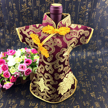 Cheongsam Wine Bottle Cover- Floral and Traditional Oriental Dress, Silk... - £7.20 GBP