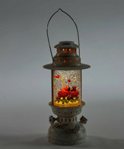 """10""""  Water Lantern w Two Red Cardinals - Lights Up w Floating Glitter image 2"""