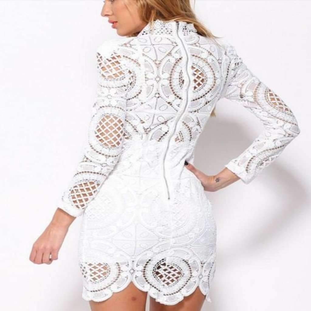 Sexy White Hollow Out Lace Women Dress