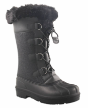 Cat & Jack Big Girls Youth Black Constance Faux Fur Winter Waterproof Snow Boots