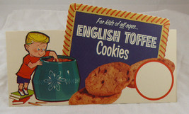 """Vintage 1950-60's ENGLISH TOFFEE COOKIES STAND UP DISPLAY/ AD   7"""" X 8"""" @@ - $12.34"""