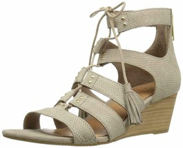 UGG Women's Yasmin Snake Gladiator Wedge Sandal Horchata Leather Size 7 B - $96.75