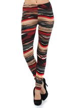Fashion Mic Women's Black Red Yellow Stripe Leggings - $7.91