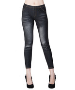 Fashion Mic Womens Whiskered Cottong Blend Skinny Basic Jeggings One Size - $13.85