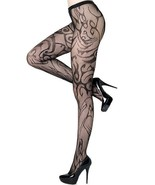 Fashion Mic Women's Blazing Flames Fishnet Pantyhose Regular and Queen - $13.85