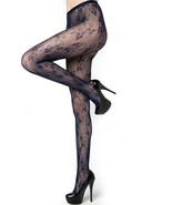 Fashion Mic Women's Clovers and Curly Vines Fishnet Pantyhose Regular an... - $13.85