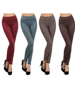 Lady Womens Plaid Skinny high-waist Pants Fashion leggings - $24.74