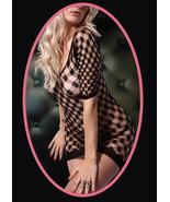 Fashion Mic Women's Mini Dress with Sleeve Diamond Knit Fishnet Body Sto... - $12.86