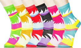 Fashion Mic Womens 6 Pairs Assorted Flamingo Bird Crew Socks Size 9-11 - $9.89