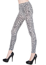 Fashion Mic Womens Silver Feathery Leopard Animal Print Leggings - $12.86