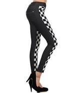 Fashion Mic Womens Two-Tone Frontal Metallic Silver Checkered Print Jegging - $16.82+