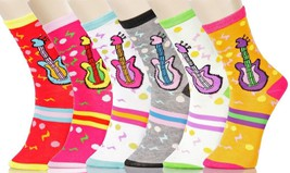 Fashion Mic Womens 6 Pairs Assorted Musical Guitar Novelty Crew Socks -Size 9-11 - $9.89