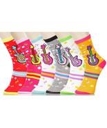Fashion Mic Womens 6 Pairs Assorted Musical Guitar Novelty Crew Socks -S... - $9.89