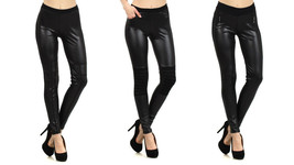 Fashion Mic Womens Black Outerwear Black Faux Leather Leggings - 3 Styles - $19.79+