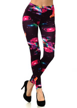 Exploration Outer Space in Red Printed Fashion Legging - $15.83
