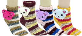 Fashion Mic Womens 6 Pairs Assorted Teddy Bear Knitted Non Skid Socks - $9.89