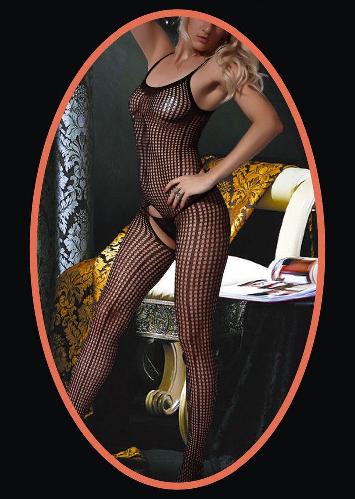 Fashion Mic Women's Spaghetti Straps and Floral Design Fishnet Body Stocking