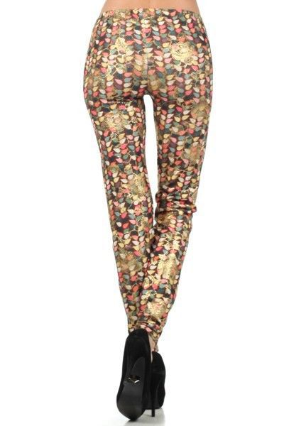 Primary image for Flower Vine with Micro Dots Foil Rose Print Design Legging