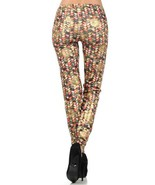 Flower Vine with Micro Dots Foil Rose Print Design Legging - $19.79