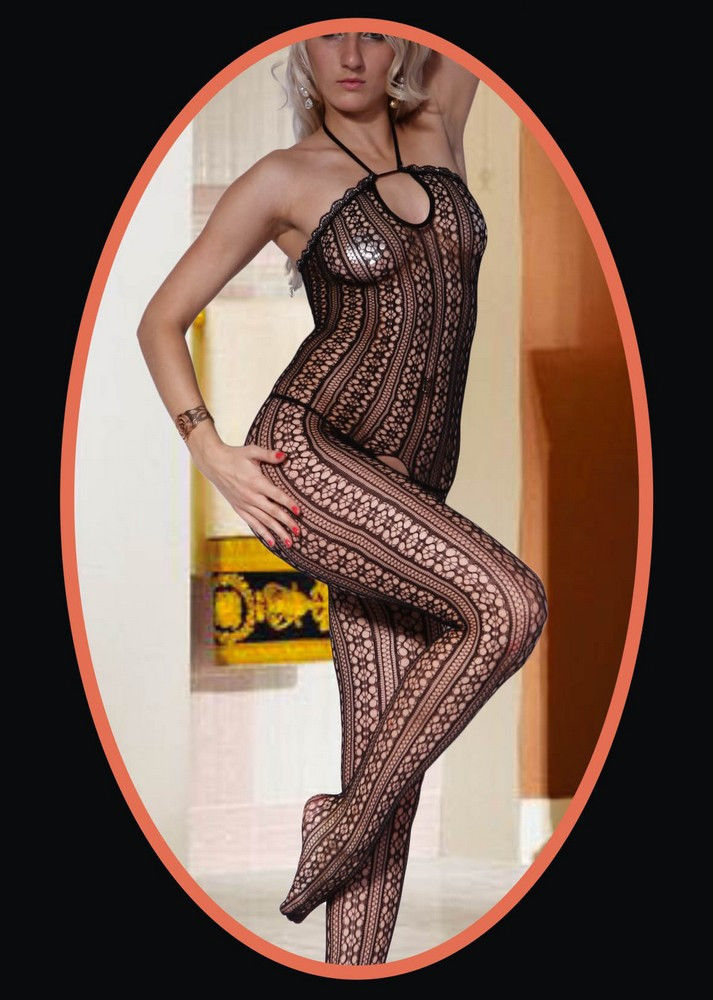 Primary image for Fashion Mic Women's Sensual Halter Neck Daisy Pattern Fishnet Body Stocking