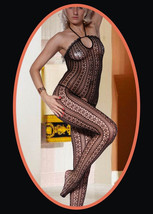 Fashion Mic Women's Sensual Halter Neck Daisy Pattern Fishnet Body Stocking - $12.86