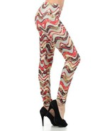 Flower Poly Wavy Rings with Micro Dots Foil Rose Print Design Legging - $19.79