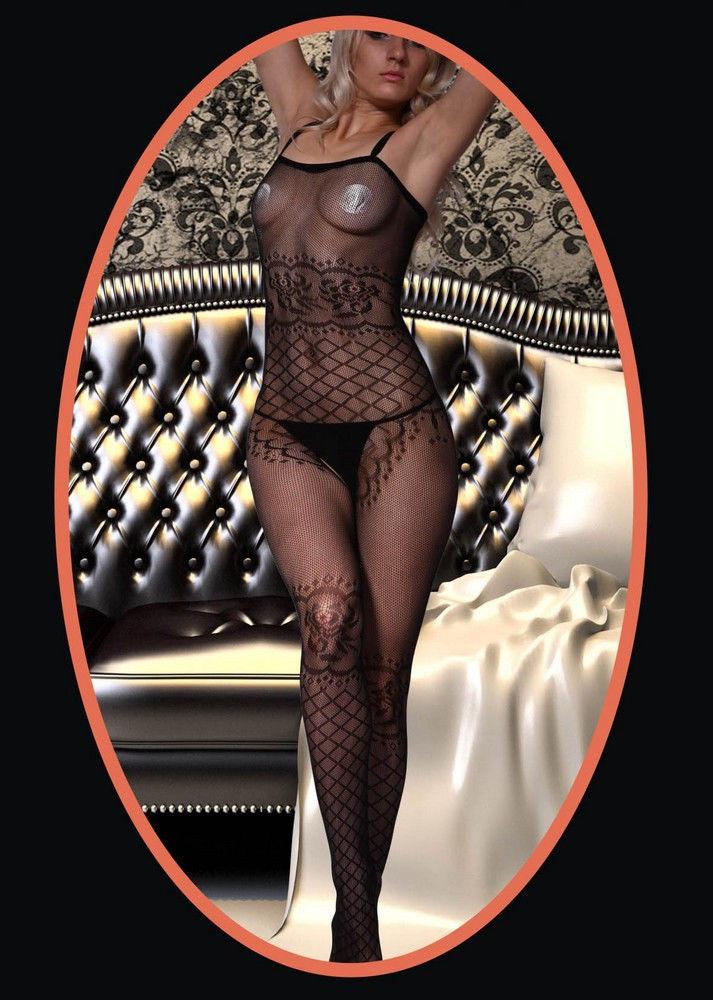 Fashion Mic Women's Spaghetti Straps and Rose Fishnet Body Stocking