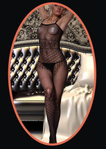 Fashion Mic Women's Spaghetti Straps and Rose Fishnet Body Stocking - $12.86