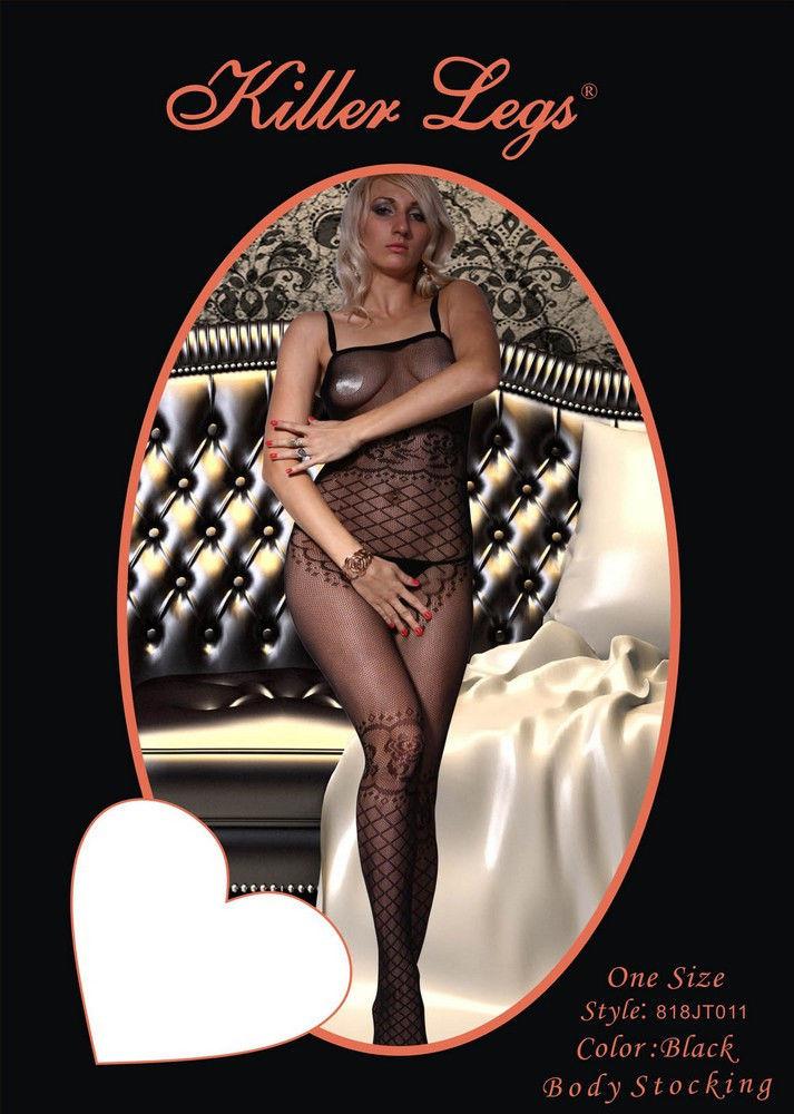Fashion Mic Women's Spaghetti Straps and Rose Fishnet Body Stocking image 2