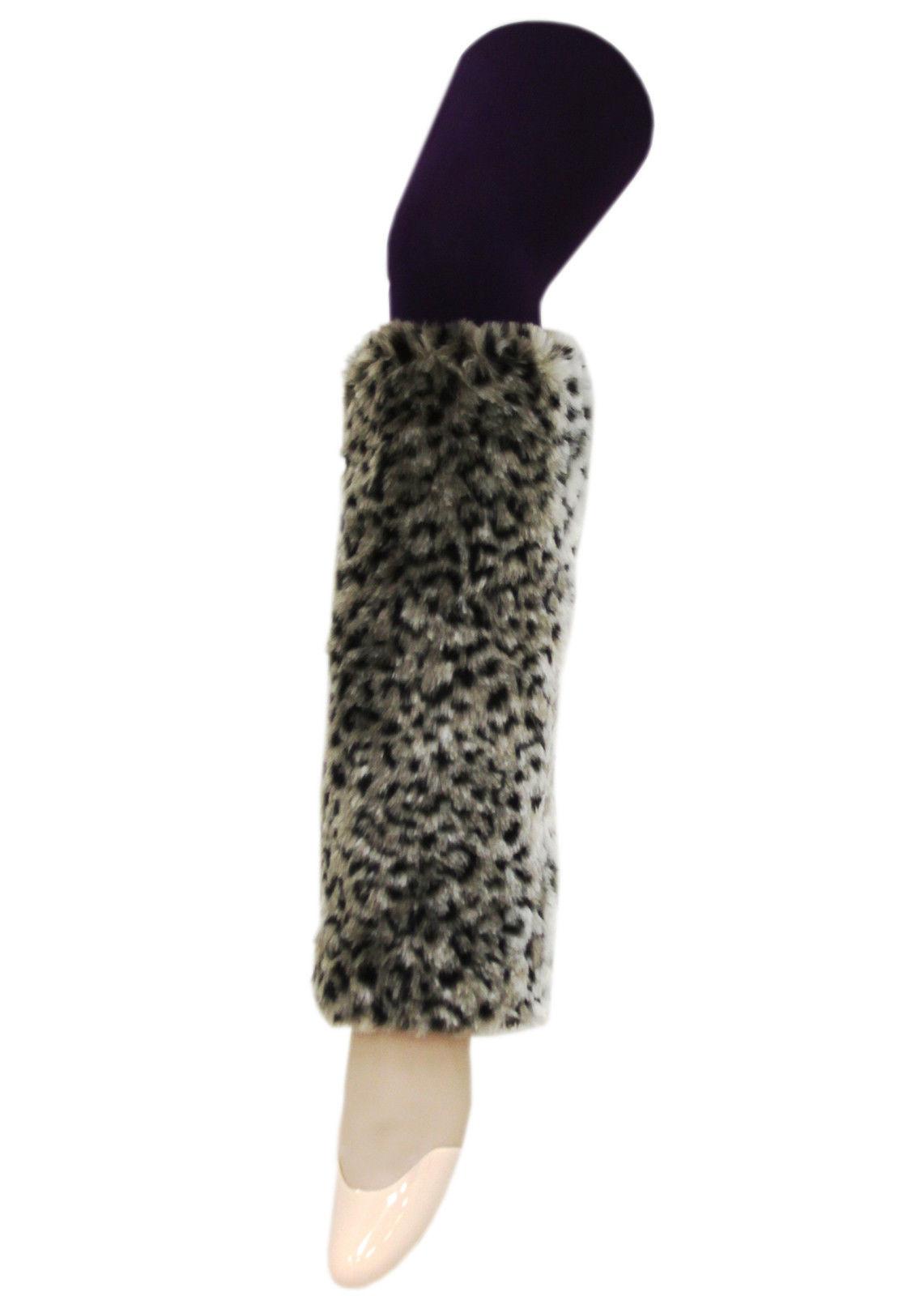 Fashion Mic Womens Leopard Print Plush Faux Furry Leg Warmers Fluffies - $13.85