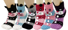 Fashion Mic Womens 6 Pairs Assorted Bunny Rabbit Knitted Non Skid Slippe... - $22.76
