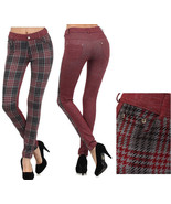 Lady Womens Montague 2 Tone with HoundsTooth Plaid Fashion Pants leggings - $29.69
