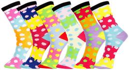 Fashion Mic Girl's 6 Pairs Assorted Novelty Crew Socks 9-11 (Multiple De... - $9.89