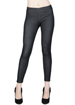 Faux Jean Ankle length Footless Pantyhose Tights Skinny jegging with yoke -Black - $10.88