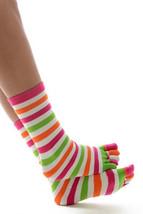 Fashion Mic Women's Cut Colorful Stripe Toe Socks Dozen Pack - $15.83