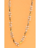 Vintage 80s Faux Seed Pearl and Goldtone Bead Necklace - $12.00