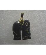Vintage 14k 585 Solid Yellow Gold Lapis? Amethyst Eye Elephant Pendant 3... - $75.00