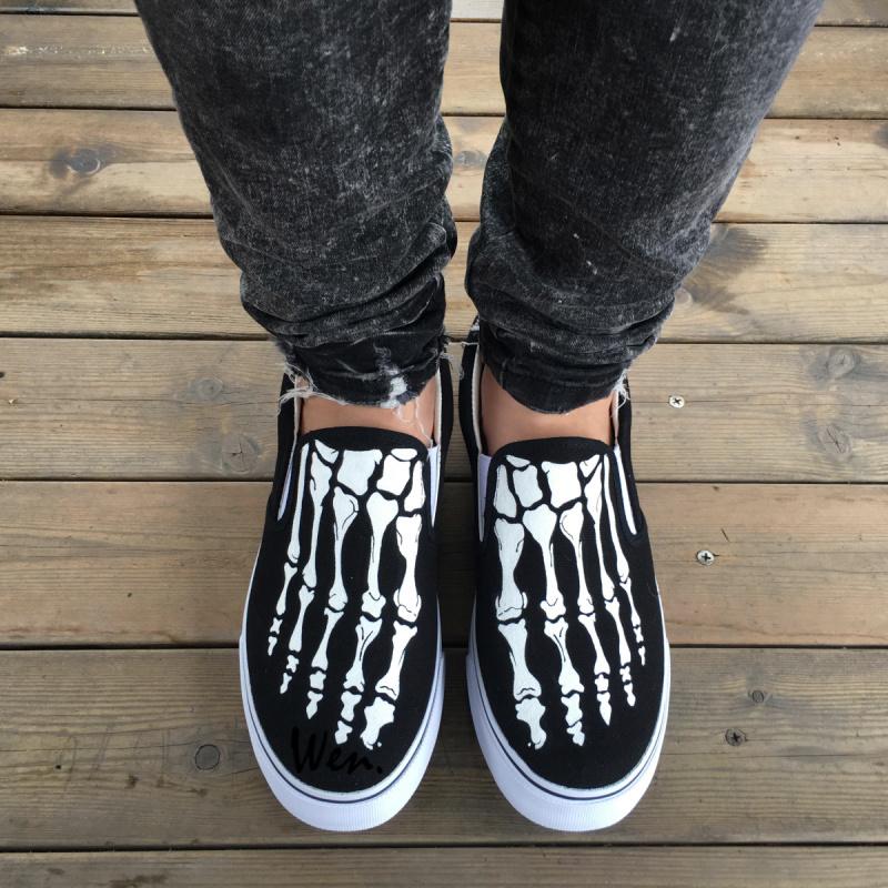 Wen Original Design Foot Skeleton Skull Black Slip On Shoes Hand Painted Sneaker