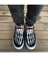 Wen Original Design Foot Skeleton Skull Black Slip On Shoes Hand Painted... - $69.00