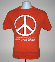 Mens Joes Crab Shack T Shirt Medium Orange Peace Love & Crabs Peace Sign - $18.76