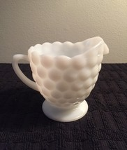 Vintage 70s Milk Glass bubble pattern creamer