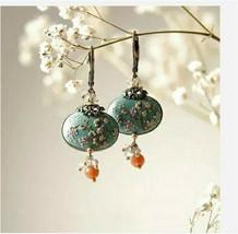 Flower 925 Silver Turquoise Vintage Ear Hook Drop Dangle Hoop Earrings Wedding - $4.90