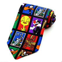 Looney Tunes Mens Necktie Cartoon Licensed Bugs Taz Tweety Stamp Black Neck Tie - $27.67