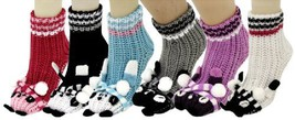 Panda Bear Knitted 3D Slipper Socks with Rubber Grips 6 Pair Assorted Colors ... - $25.73