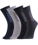 Fashion Mic Mens Cotton Blended Dress Socks 4 Pair Bundle Multiple Style... - $13.85