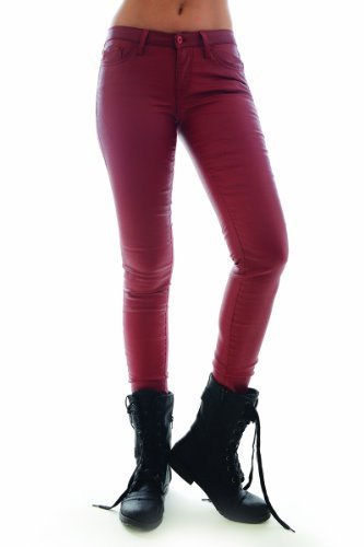 Faux Leather Coated Skinny Jeans (7, Red) [Apparel] - $49.49