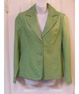 New with Tags QVC Dialogue Lime Green Leather Jacket Blazer Small Fully... - $49.49