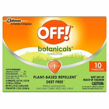 OFF! Botanicals Plant-Based Deet Free Insect Repellent Towelettes 10-Count NEW