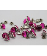6mm Fuchsia H108 Jet Acrylic Rhinestone Rivets For Garments - 25 Pieces - $5.76